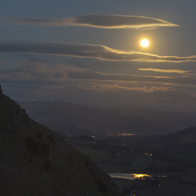 """""""A full moon reflected in little Langdale Tarn from Wrynose Pass, Lake..."""" stock image"""