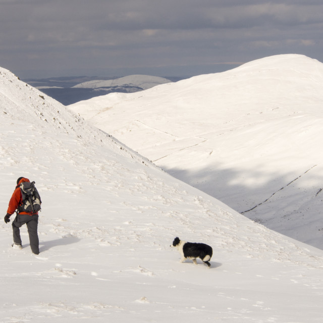 """""""A walker on Gray Crag looking towards the Knott in unseasonally cold weather..."""" stock image"""
