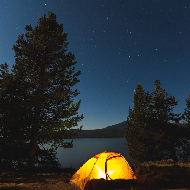 """""""Camping Under the Stars"""" stock image"""