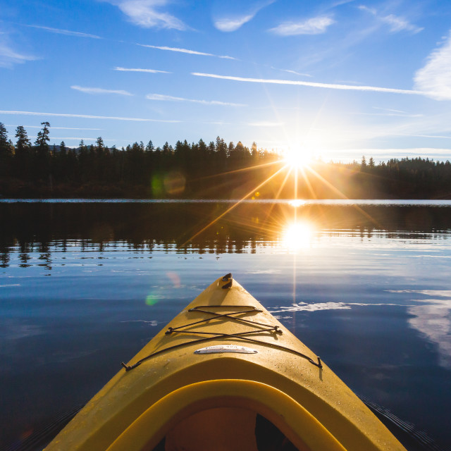 """Kayaking at Sunrise"" stock image"