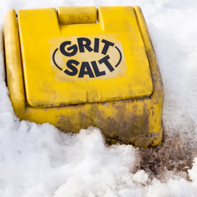 """""""A grit bin and snow drifts on a snowy lane near the Stiperstones, Shropshire,..."""" stock image"""