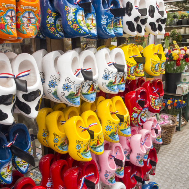 """""""Clogs for sale at a market in Amsterdam, Netherlands."""" stock image"""