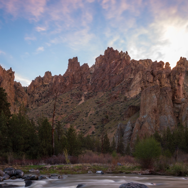 """Smith Rock River Sunrise"" stock image"