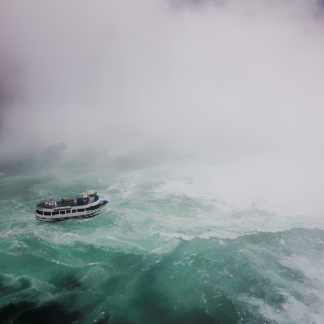 """Maid of the Mist tourist boat, Niagara Falls, on a stormy day"" stock image"