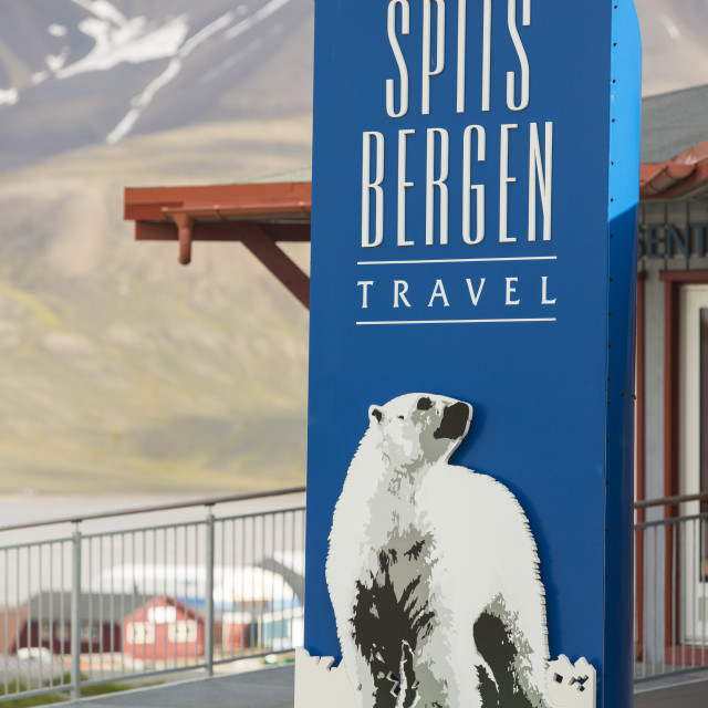 """A travel firm in Longyearbyen, Spitsbergen, Svalbard. Tourism is increasing..."" stock image"