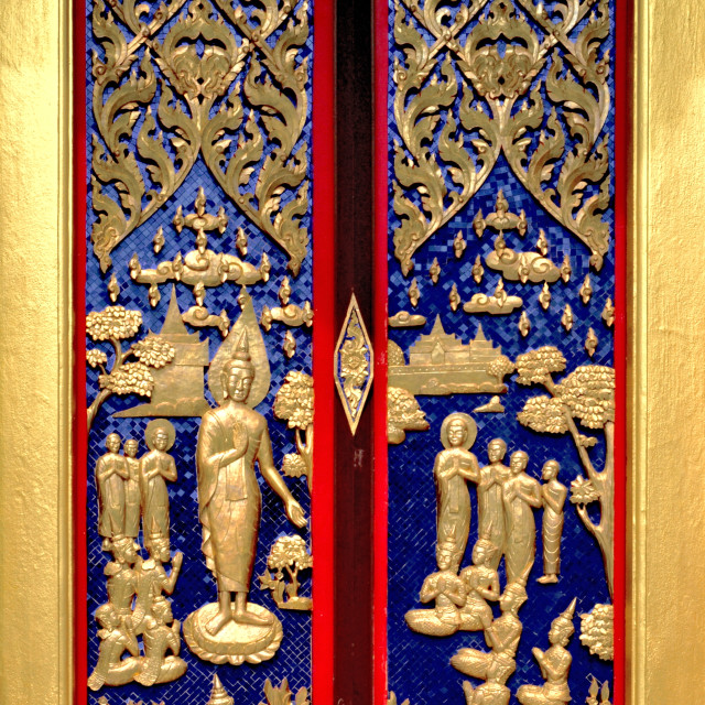 """""""Skilfully crafted temple's door"""" stock image"""
