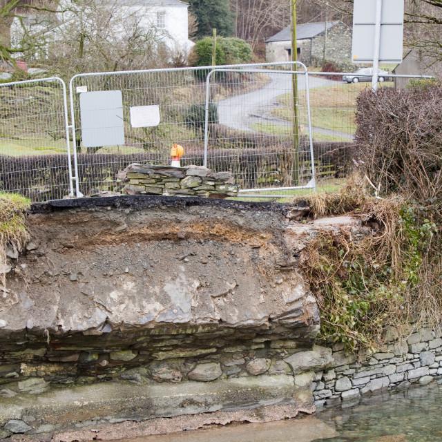"""A bridge over Newlands Beck near Braithwaite, Lake District, UK, that was..."" stock image"