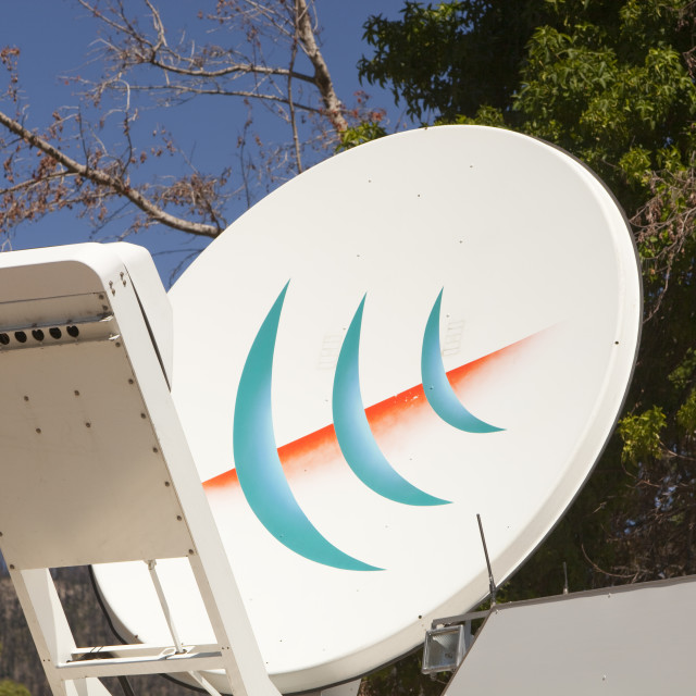 """An outside broadcast van in Marysville, Australia."" stock image"
