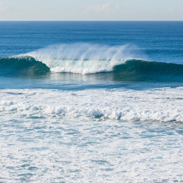 """""""Ocean Blue Wave Crashing"""" stock image"""