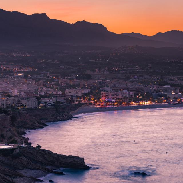"""Illuminated Costa Blanca Albir town at twilight"" stock image"