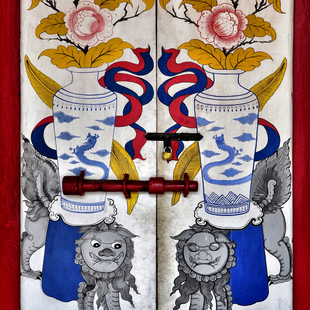 """""""Chinese symbols on temple's doors"""" stock image"""