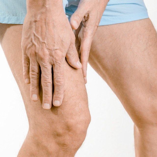 """Athlete man feeling pain to the quadriceps"" stock image"