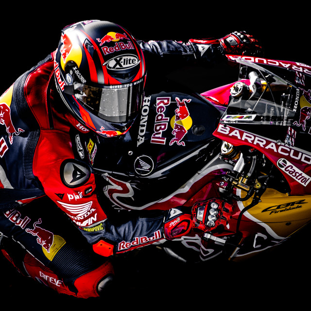 """Red Bull in the shadows"" stock image"