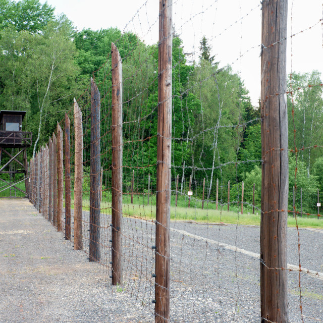 """""""Concentration camp Vojna is a outdoor musem near Pribram, Czech Republic, where used to be detained prisoners of State in the communist era of the country (1948-1989)"""" stock image"""