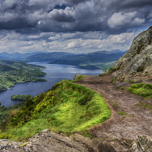 """Loch Katrine from the top of Ben A'an"" stock image"
