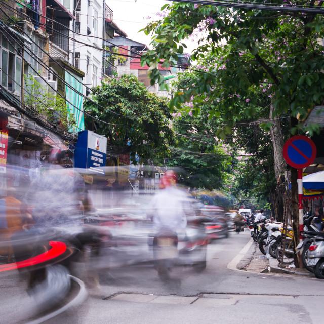 """""""HANOI, VIETNAM - Hanoi old quarter busy traffic sc"""" stock image"""
