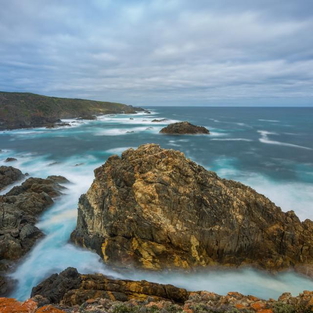"""""""Seal Rocks long exposure"""" stock image"""