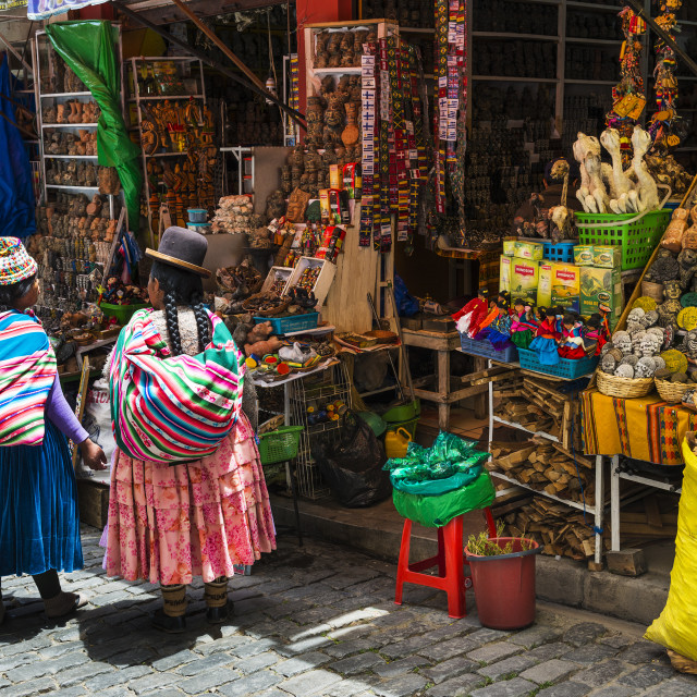 """La Paz, Bolivia - December 8, 2013: Two local woman wearing traditional clothing in front of a store in a street of the city of La Paz, in Bolivia"" stock image"