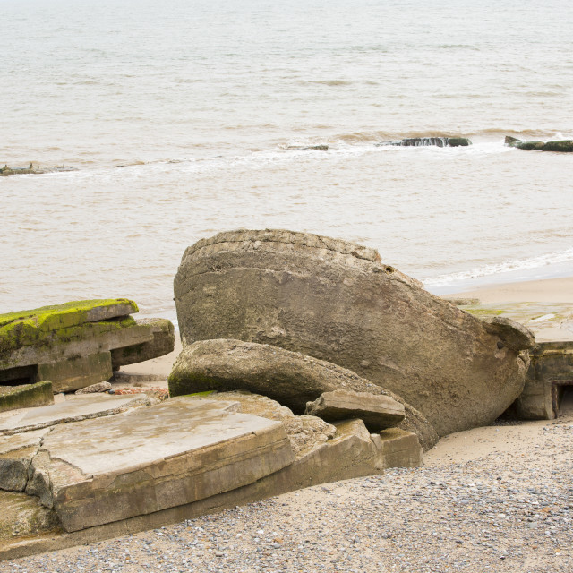 """""""The Remains of the Godwin battery on the beach at Kilnsea at the head of..."""" stock image"""