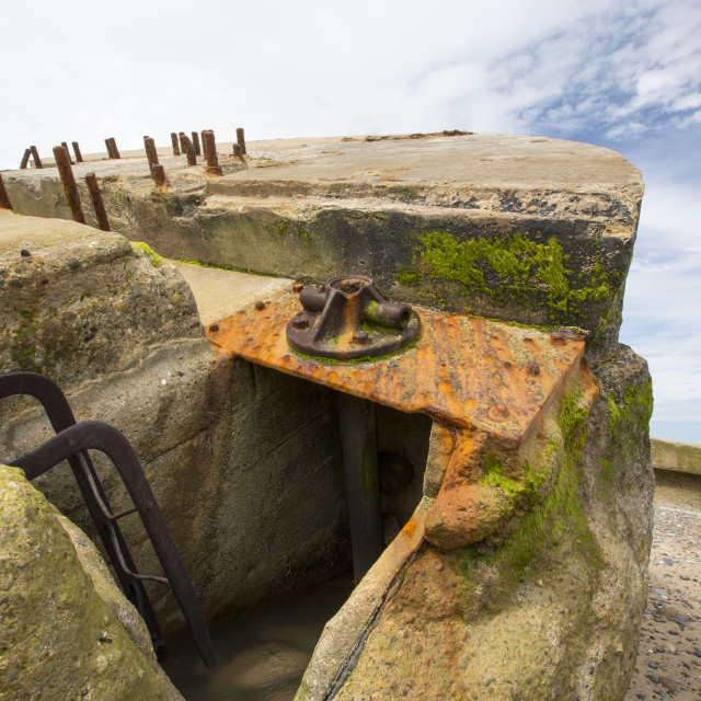"""""""The Remains of a gun emplacement at the Godwin battery on the beach at..."""" stock image"""