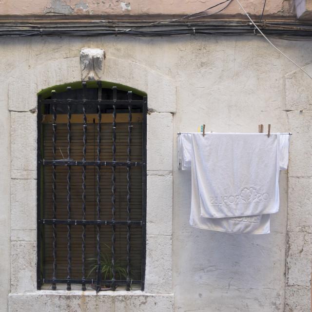 """""""Popular neighborhood of Barceloneta in Barcelona"""" stock image"""
