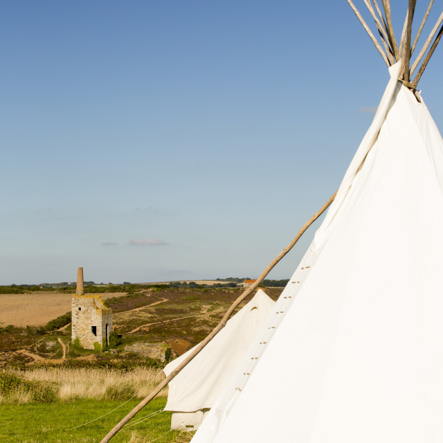 """""""A wigwam at Mount Pleasant Ecological Park in Porthtowan, Cornwall, UK."""" stock image"""