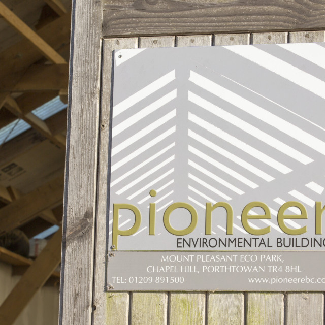 """""""Pioneer, a low impact building company based at Mount Pleasant Ecological..."""" stock image"""