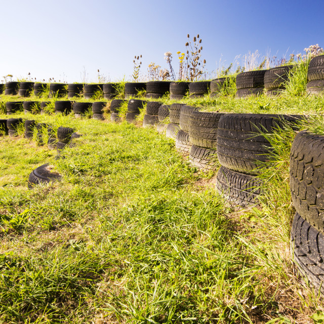 """""""An ampitheatre built with used tyres at Mount Pleasant Ecological Park,..."""" stock image"""