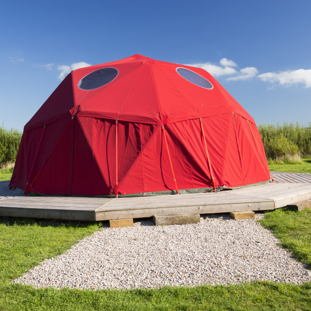 """""""A large framed dome tent at Mount Pleasant Ecological Park, Porthtowan,..."""" stock image"""