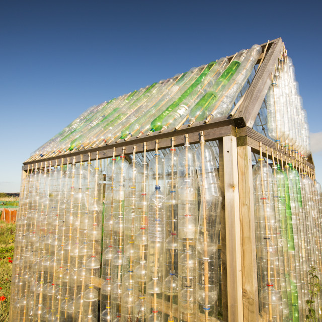 """""""A greenhouse made from waste plastic drinks bottles in the community garden..."""" stock image"""