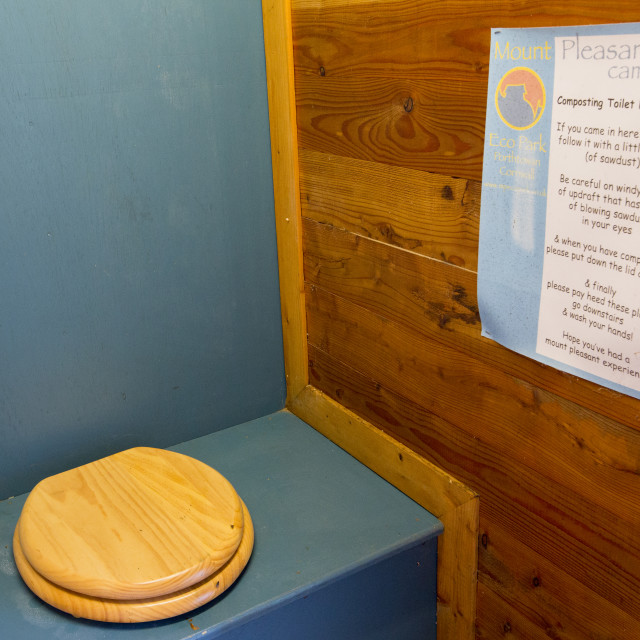 """Composting toilets at Mount Pleasant Ecological Park, Porthtowan, Cornwall, UK."" stock image"