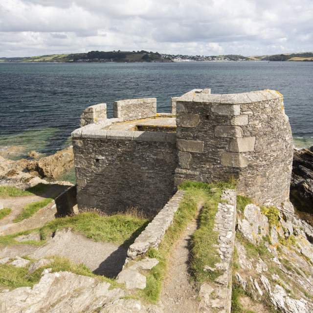 """Little Dennis, an ancient look out post on the Pendennis headland in..."" stock image"