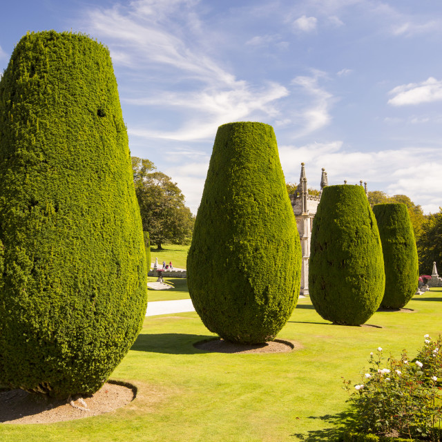 """The formal gardens of Lanhydrock a country residence dating from the 1600's..."" stock image"
