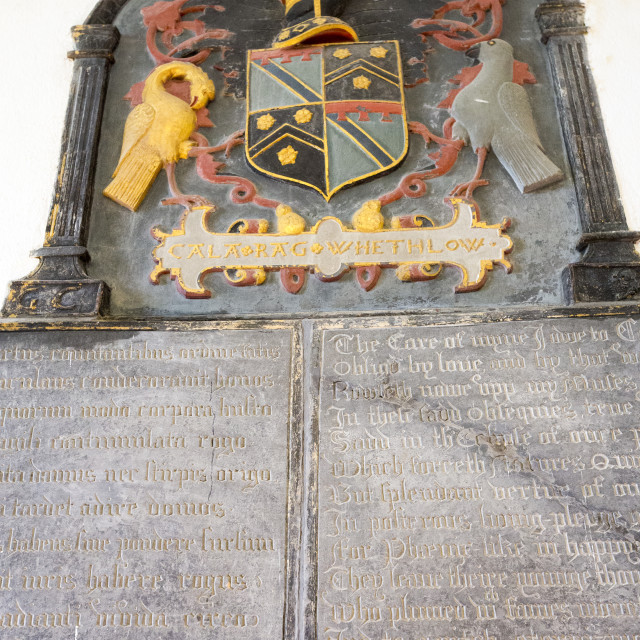 """A coat of arms in Lanhydrock a country residence dating from the 1600's in..."" stock image"