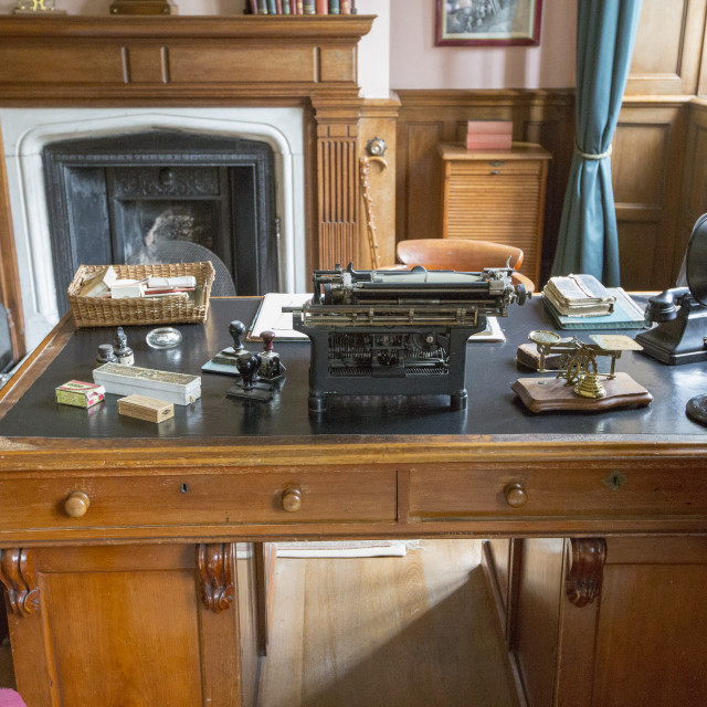 """A victorian office at Lanhydrock a country residence dating from the 1600's..."" stock image"