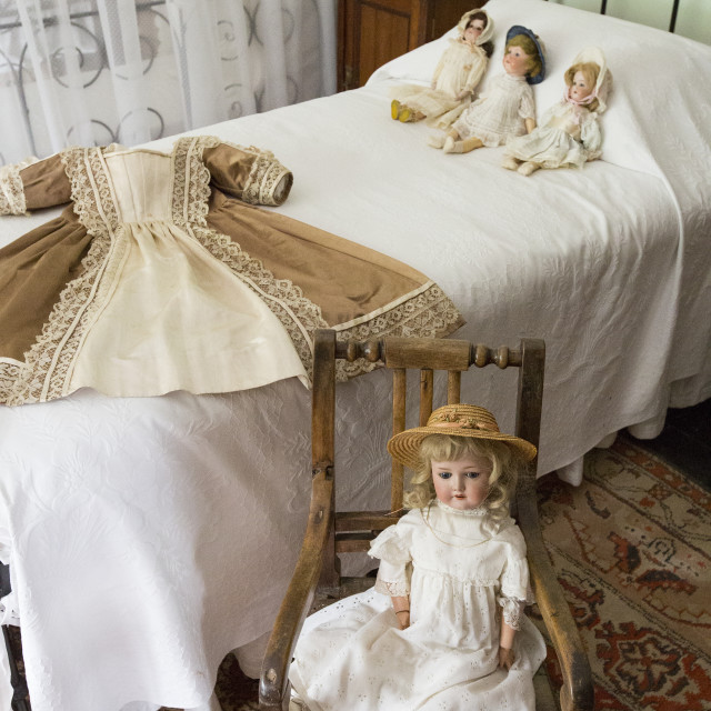"""The childrens nursery with Victorian toys at Lanhydrock a country residence..."" stock image"