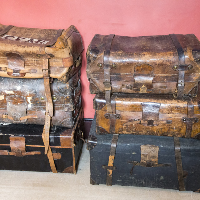 """Leather suitcases at Lanhydrock a country residence dating from the 1600's in..."" stock image"