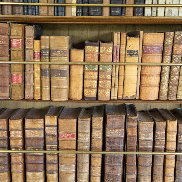 """Antique books at Lanhydrock a country residence dating from the 1600's in..."" stock image"