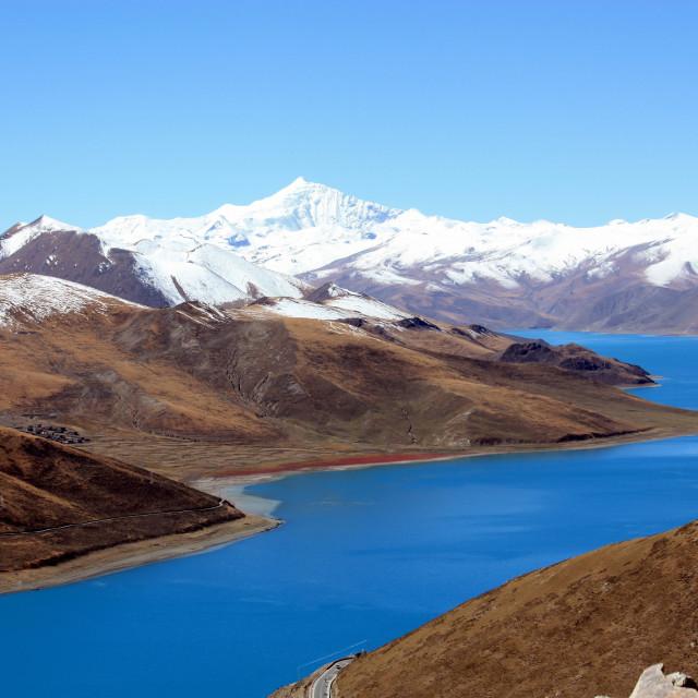 """Yamdrok Tso Lake in Tibet"" stock image"