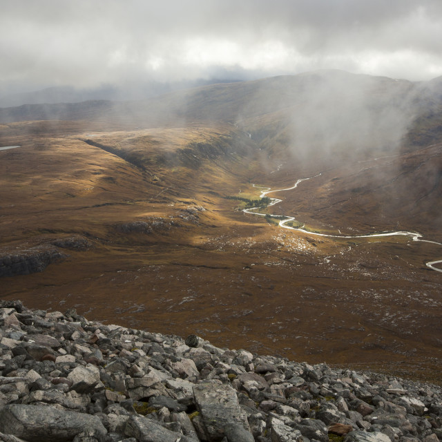 """""""Looking down on the remote Strath na Sealga, below An Teallach in the North..."""" stock image"""