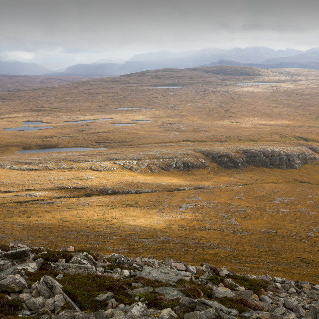 """""""Looking down on moorland above the remote Strath na Sealga, below An Teallach..."""" stock image"""