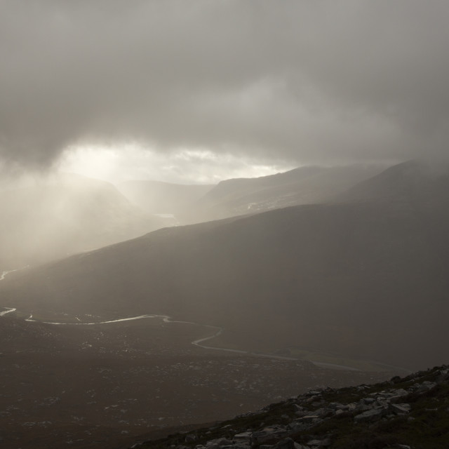 """""""Looking down on the remote Strath na Sealga, and Beinn Dearg Mor from An..."""" stock image"""