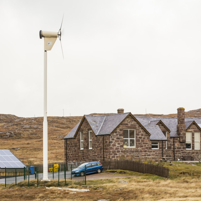 """Solar Panels and a wind turbine powering Balchaladich school in Assynt, north..."" stock image"