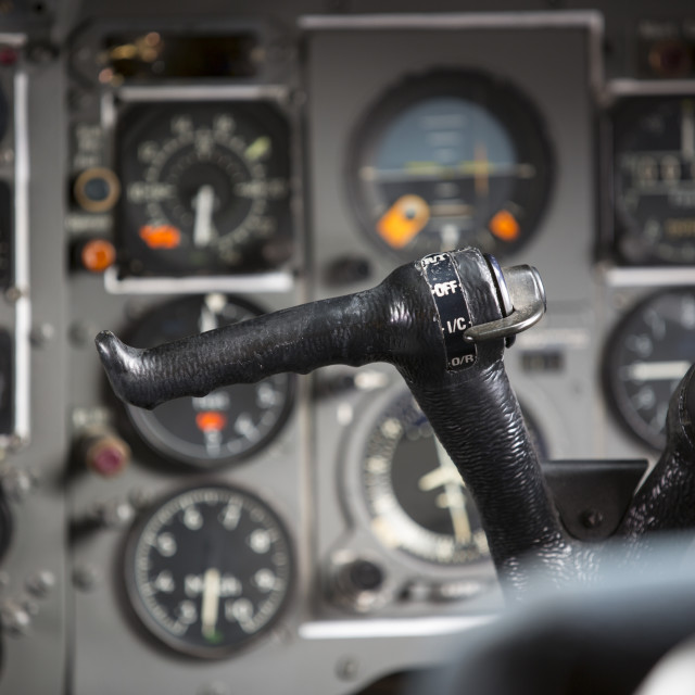 """The control deck in the cabin of an old Trident airplane at Manchester..."" stock image"