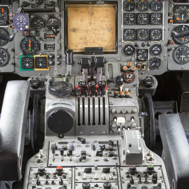 """""""The control deck in the cabin of an old Trident airplane at Manchester..."""" stock image"""