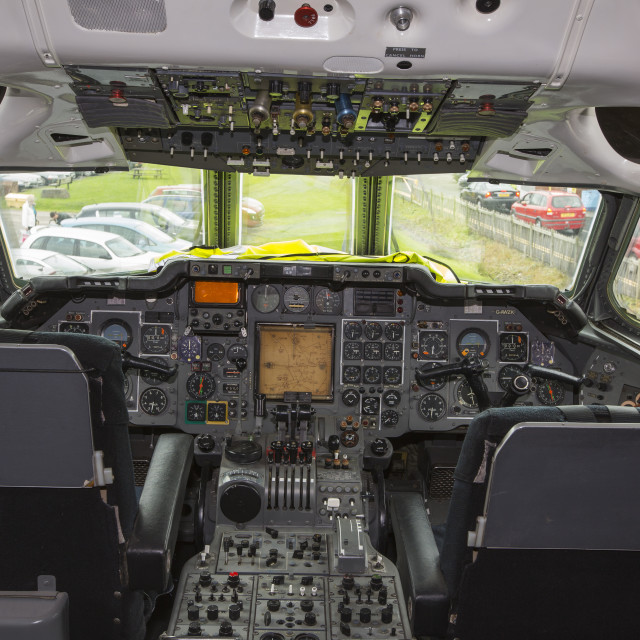 """The flight deck in the cabin of an old Trident airplane at Manchester..."" stock image"