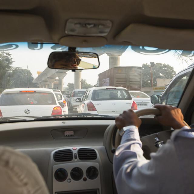 """A traffic jam in Delhi, India."" stock image"