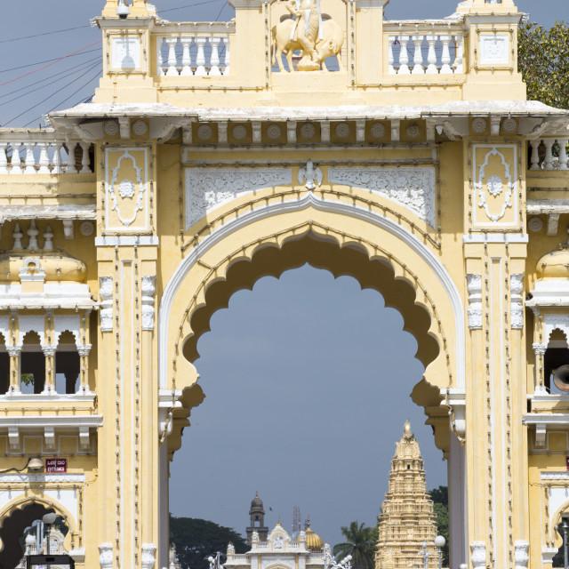 """The famous Mysore Palace in Mysore, Karnataka, India."" stock image"