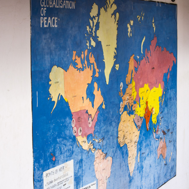 """A World Map of Hope at the Barefoot College in Rajasthan, India."" stock image"