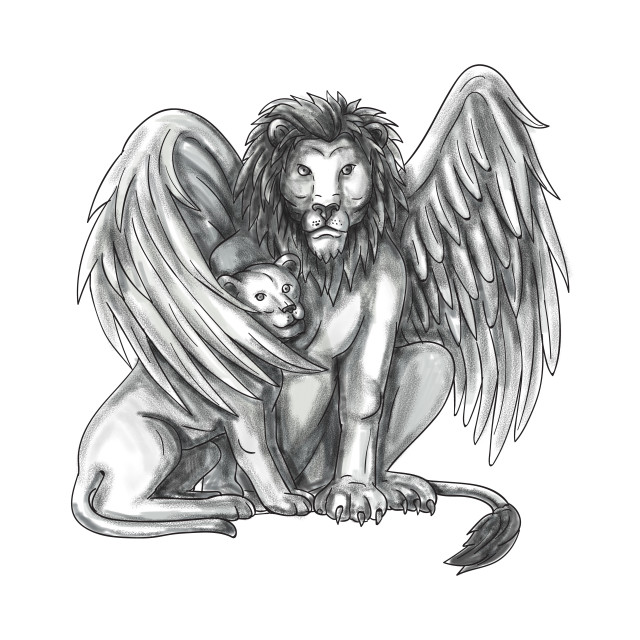 """Winged Lion Protecting Cub Tattoo"" stock image"